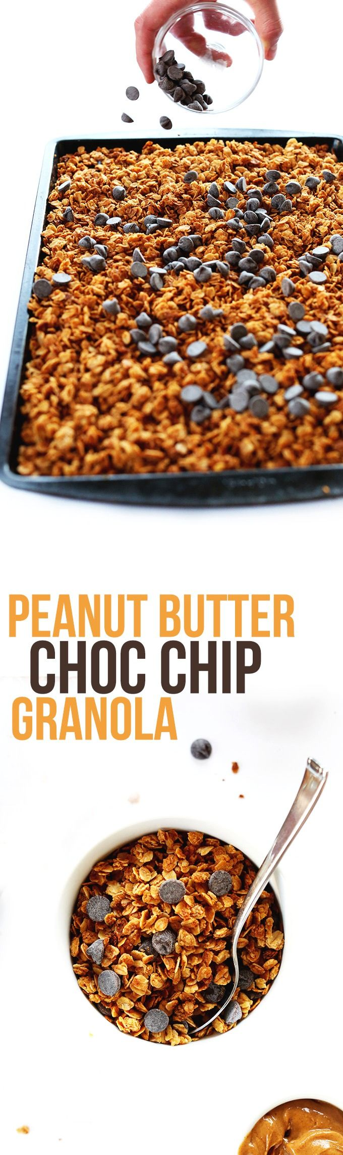 6 ingredient CRUNCHY PEANUT BUTTER Granola with DARK CHOCOLATE chips! Simple, fast and seriously satisfying.