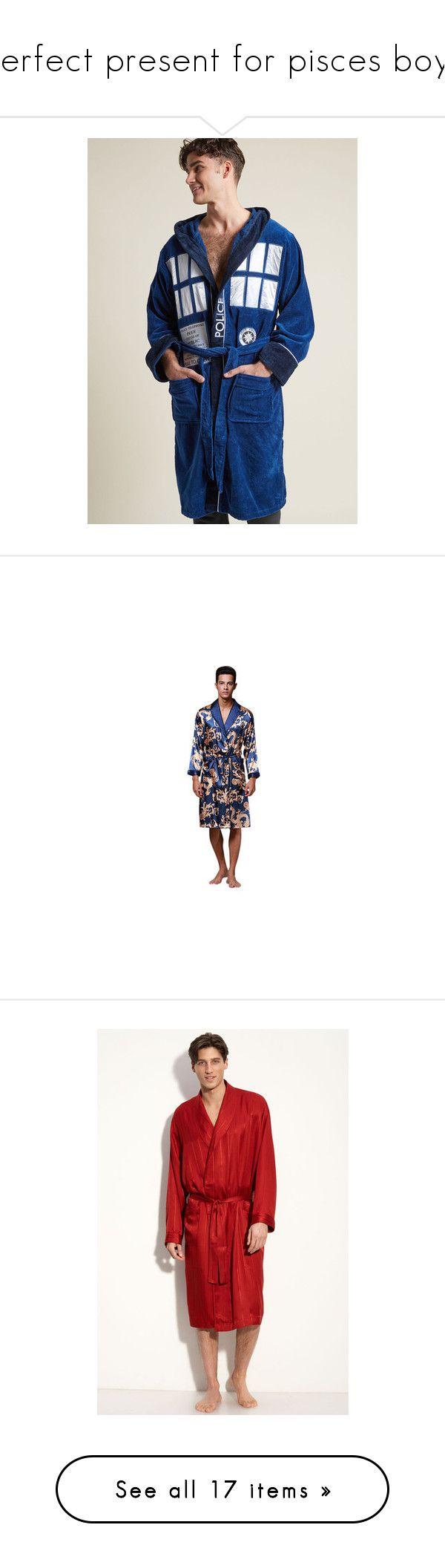 """perfect present for pisces boys"" by cynthiadasmir2 on Polyvore featuring men's fashion, men's clothing, men's sleepwear, men sleepwear pajamas, royal blue, mens silk bathrobe, men's apparel, mens silk sleepwear, mens clothing and mahogany"