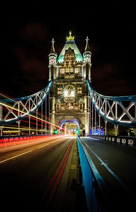 Tower Light Trail - stock photo
