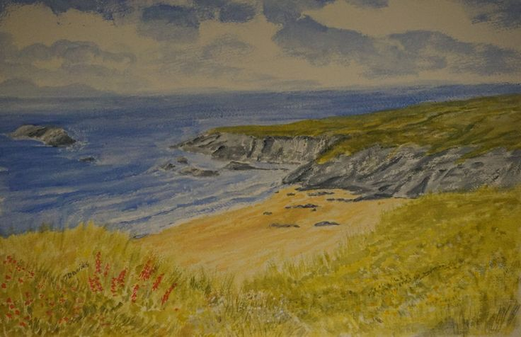 From The Cliffs Painting dunes Seascape beach bay clouds Original art, acrylic in Art, Direct from the Artist, Paintings | eBay