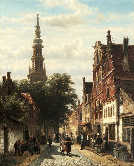 Cornelis Springer – Bedrijvigheid in de Nieuwe Raamstraat te Haarlem met op de achtergrond de toren van de Nieuwe Kerk