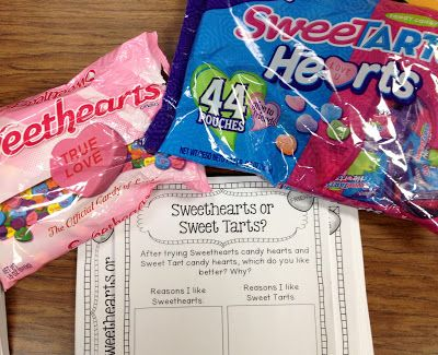 Sweethearts or Sweet Tarts?! Valentine's Day opinion writing. Students taste each candy and decide which one they like better and explain why!