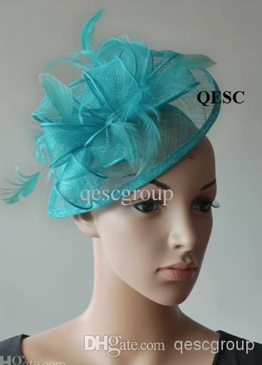 Wholesale Hair Accessory - Buy Tiffany Blue Dress Wedding Bridal Sinamay Feather Fascinator Hat Hair Accessory for Kentucky Derby,wedding,church,party,$10.69 | DHgate