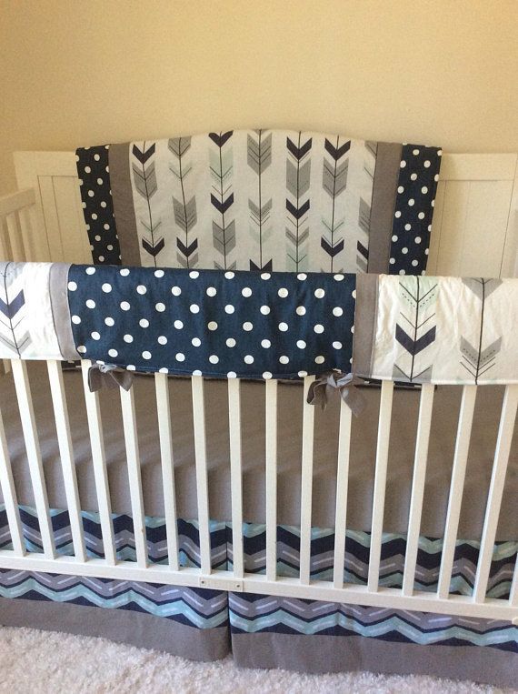 Baby Boy Crib Bedding Set Navy Gray Mint Arrow Ready To Ship Baby Boy Bedding Sets Baby Boy Crib Bedding Blue Bedding Sets