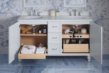 White Damask Kohler Tailored Vanity with chrome Kelston faucet. Nothing adds elegance to a bathroom like a furniture-style vanity. Especially when they're available in a huge range of sizes and every wood finish you can imagine.