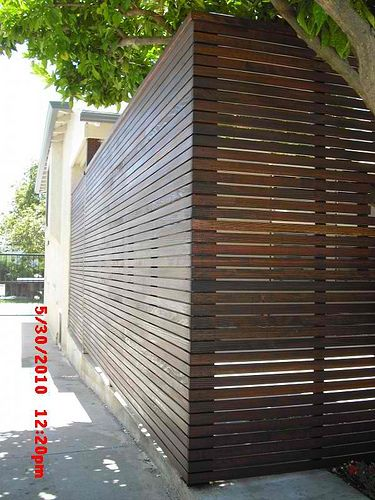 Custom 1x2 redwood modern horizontal fence & gate porch enclosure, wireless doorbell, electric deadbolt, built-in mail box; puttied, sanded & stained; Spencer St, Glendale 91202 #2 | Flickr - Photo Sharing!