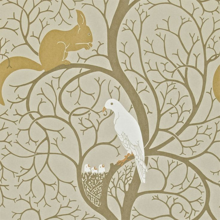 Sanderson - Traditional to contemporary, high quality designer fabrics and wallpapers | Products | British/UK Fabric and Wallpapers | Squirrel & Dove (DVIWSQ101) | Vintage Wallpapers