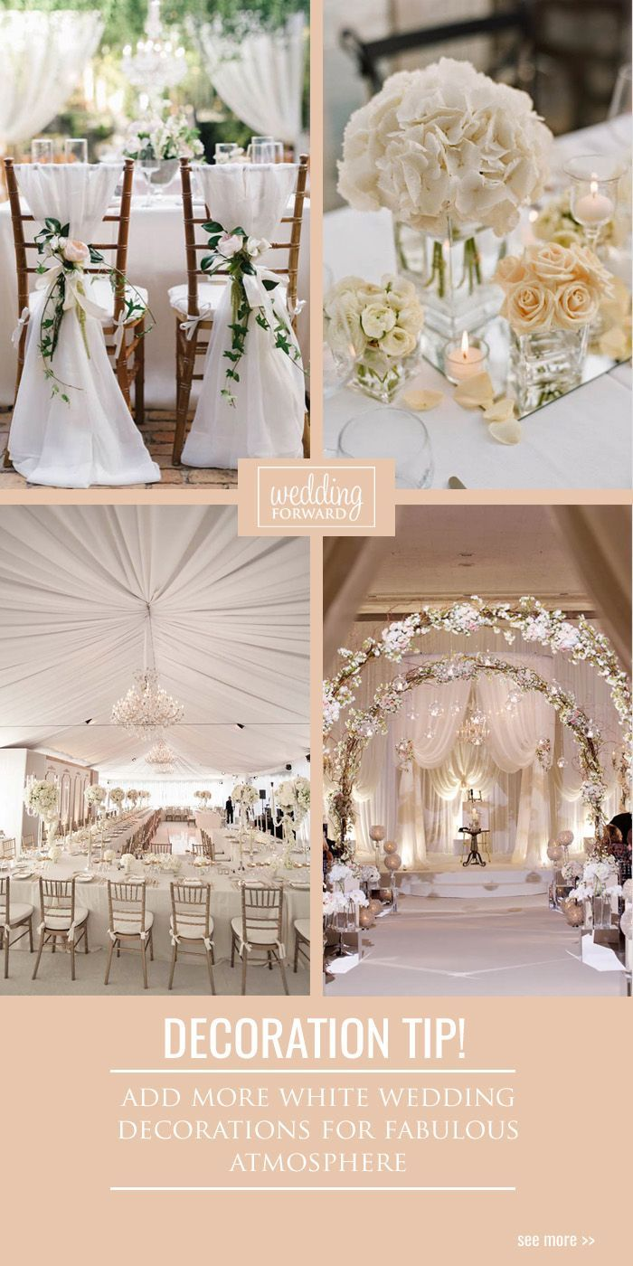 30 White Wedding Decoration Ideas ❤ This subtle and light color can appear on most wedding decorations like centerpieces, flowers, tables, chairs and curtains. See more: www.weddingforwar... #weddings #decorations #ideas