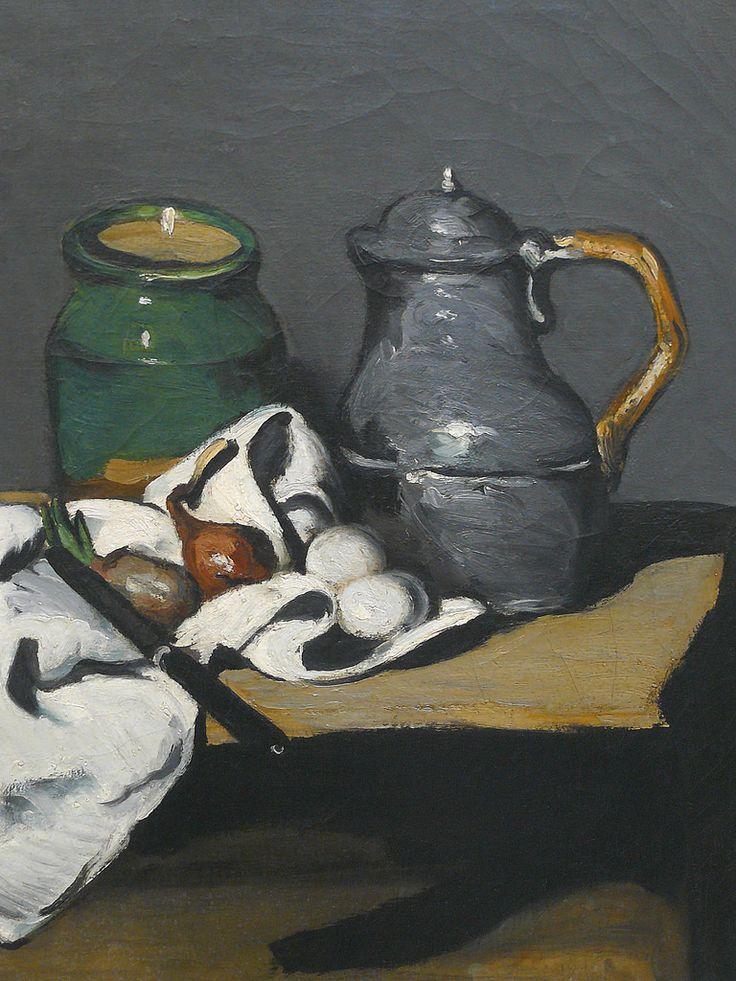 CEZANNE,1867-69 - Pot vert et Bouilloire d'étain - Still Life with Green Jar and Pewter Kettle (Orsay) - Detail 4 -   Cézanne à Pissarro : « Vous avez parfaitement raison de parler du gris, cela seul règne dans la nature, mais c'est d'un dur effrayant à attraper. » (Aix, 23 octobre 1866)  + PICTURES OF DETAILS AND CEZANNE'S OWN WORDS :  www.flickr.com/photos/144232185@N03/collections/721576722...