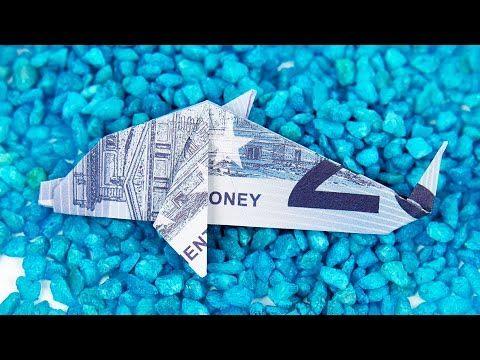 Geldschein falten FISCH, Origami DELFIN aus GELD falten, Anleitung in 4K - YouTube