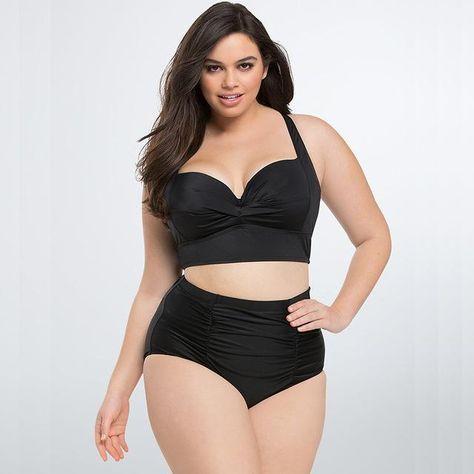0a05b951b07 High Waist Swimsuit New Plus Size Swimwear Women Print Colorful Vintage  Retro Fat Bathing Suit Push Up Bikini Set 4Xl