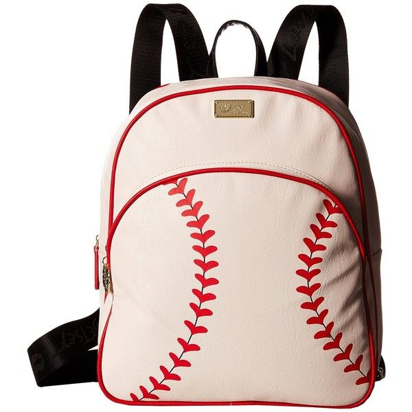 Luv Betsey Homerun Backpack (Cream) Backpack Bags ($40) ❤ liked on Polyvore featuring bags, backpacks, beige, betsey johnson, vegan leather backpack, betsey johnson backpack, faux leather bag and baseball bag