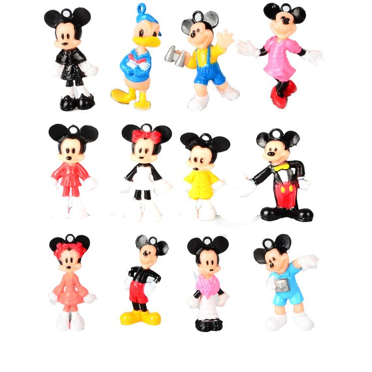 12pcs, BOHS Mini Mickey Mouse Donald Duck  Minnie Cartoon   Micro Birthday Cake  Decoration  Action Figures