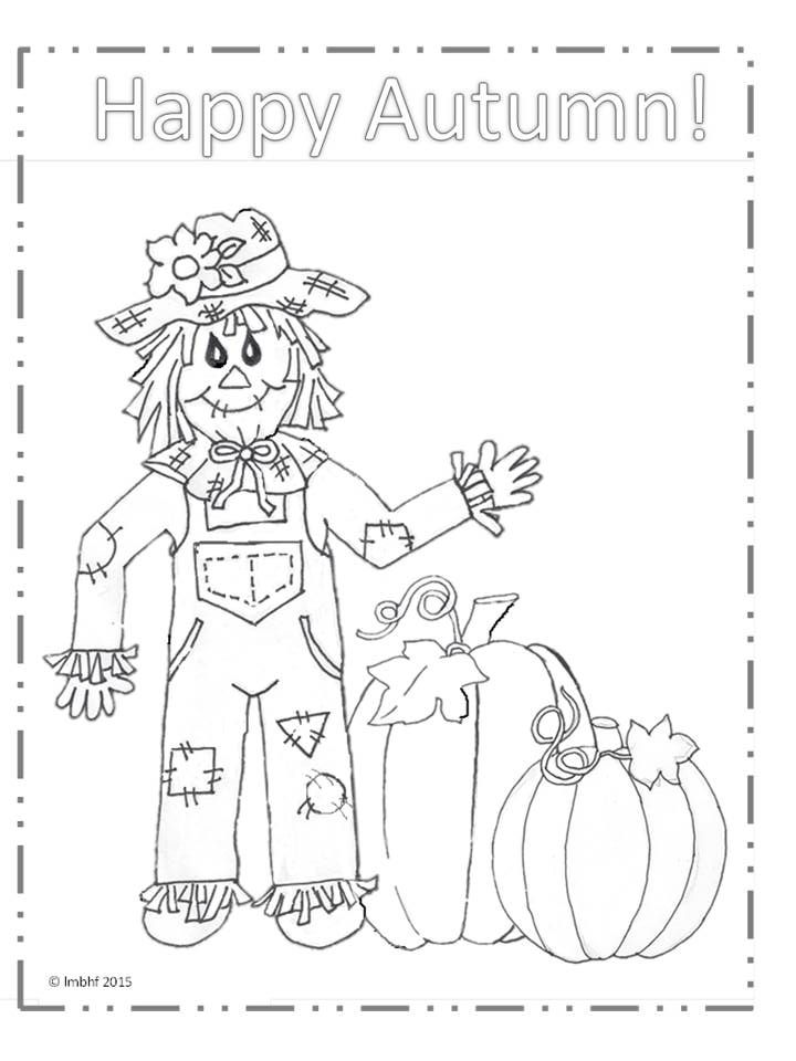 Happy Autumn Scarecrow Coloring Page | Love My Big Happy Family