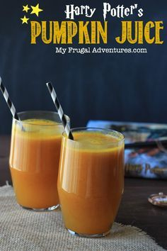 Copycat Harry Potter Pumpkin Juice Recipe- fun Halloween Party Recipe or just for movie night with the kids!  Crisp and refreshing and so simple to make.