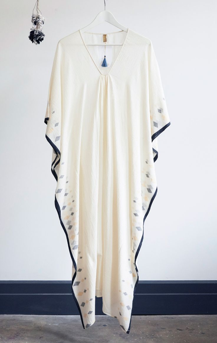 "Handwoven cotton sari caftan with diamonds in black and peach. Color: Natural white - — Length 48"" - — Width 45"" - — One size - — Free domestic shipping on purchases"