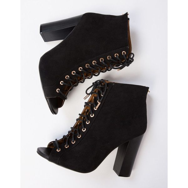Peep Toe Lace-Up Booties (£24) ❤ liked on Polyvore featuring shoes, boots, ankle booties, black, lace up booties, black peep toe booties, faux suede booties, high heel booties and black lace up boots