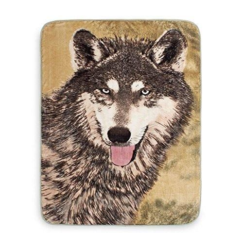 50x60 Grey Brown Animal Throw Blanket Wildlife Cabin Lodge Cottage Wolf Theme Bedding Realistic Wolves Canine Pattern Warm Cuddly Nap Time Reversed
