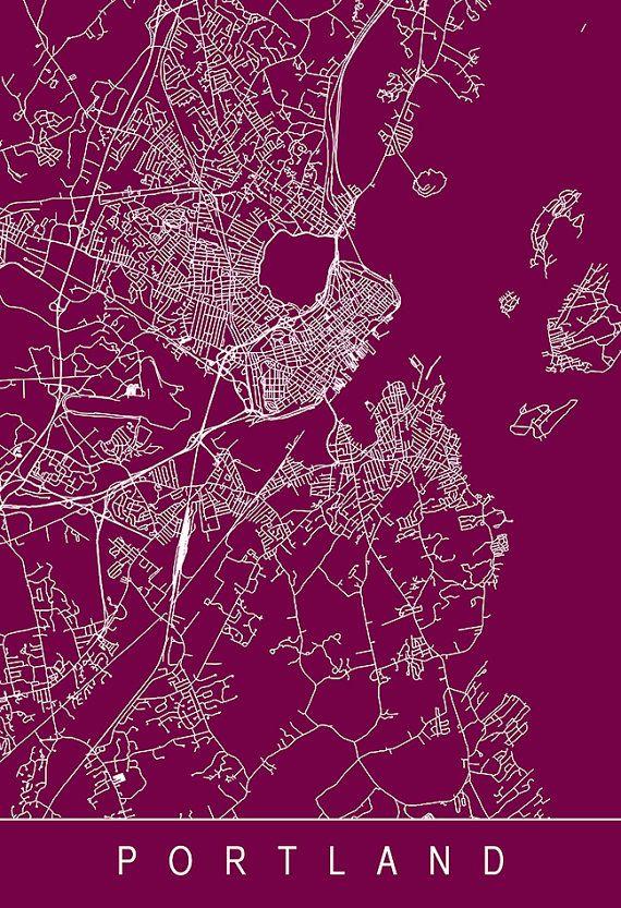 PORTLAND MAINE MAP Portland City Map Art by EncoreDesignStudios