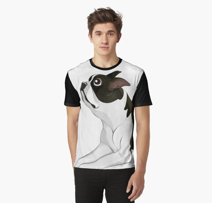 Boston Terrier Graphic T-Shirts by AnMGoug on Redbubble. #tshirt #bostonterrier #cartoon #dog