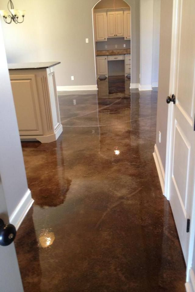 "Stained concrete  ""Tortoise shell black"" Very popular color right now! Schedule your free quote today   oldworldconcretedesign.com"