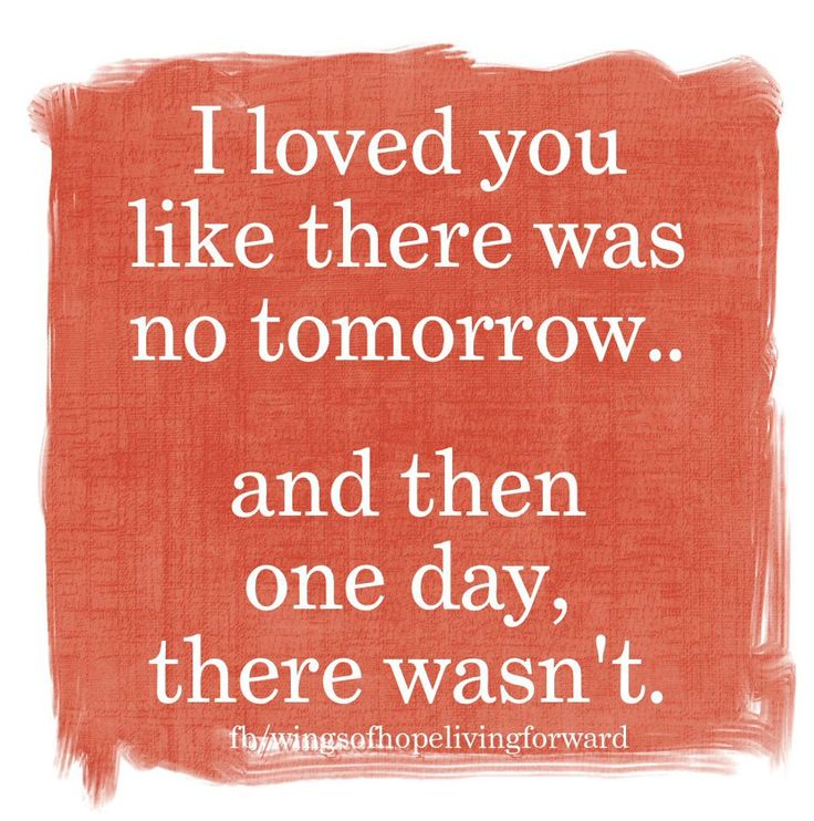 loved you like there was no tomorrow... and then one day, there wasn ...