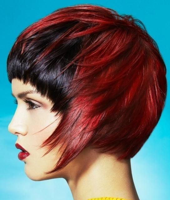 red coloured asymmetrical bob hairstyle