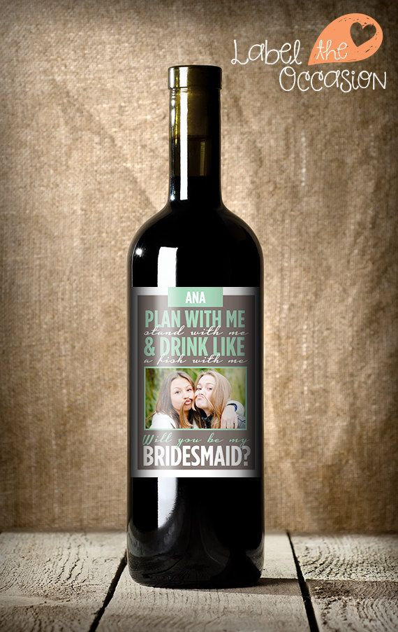 Custom Bridesmaid Wine Label  Will You Be My by LabelTheOccasion