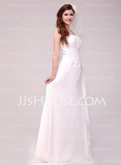 Corte A/Princesa Hasta el suelo Chifón Vestidos de novia con Volantes encaje Bordado (002014023) - JJsHouse