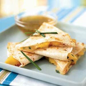 Peach and Brie Quesadillas with Lime-Honey Dipping Sauce |Limes Honey Dips, Summer Appetizers, Peaches Recipe, Dips Sauces, Cooking Lights, Mexicans Recipe, Dipping Sauces, Limehoney Dips, Brie Quesadillas