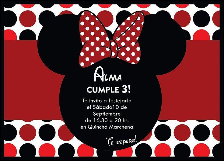 #Invitación #Tarjeta #Minnie #Roja #Birthday #Cumple #Cumpleaños