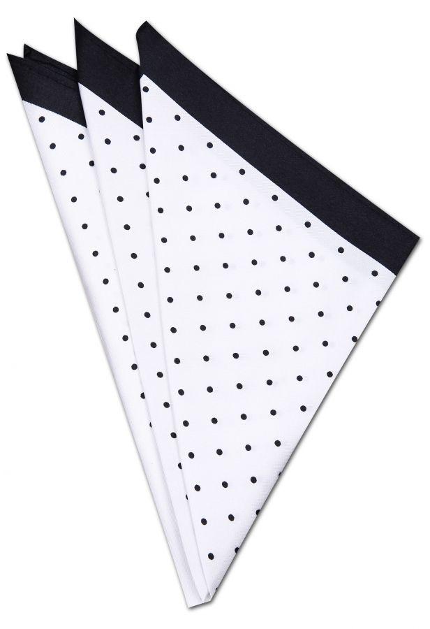 Siyah - Beyaz Kravat Mendili KM0239 - Black and White Pocket Square