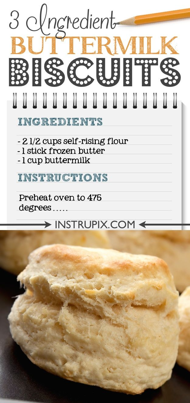 Easy homemade buttermilk biscuits made from scratch using just 3 ingredients! Self rising flour makes this recipe super simple! They're the perfect breakfast or dinner side! Everyone will LOVE them. | Instrupix.com