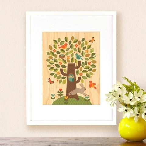 modern tree nursery print on wood
