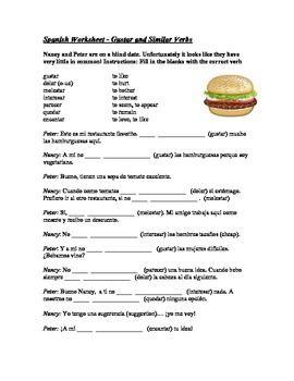 Printables Verbs Like Gustar Worksheet verbs like gustar worksheet davezan and similar davezan