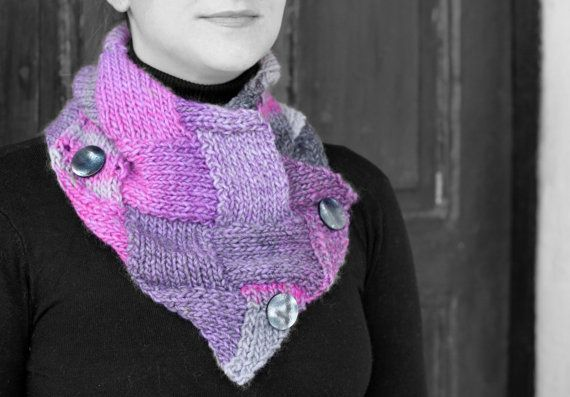 Neck Warmer multicolored yarn by MmeDefargeYarnworks on Etsy.