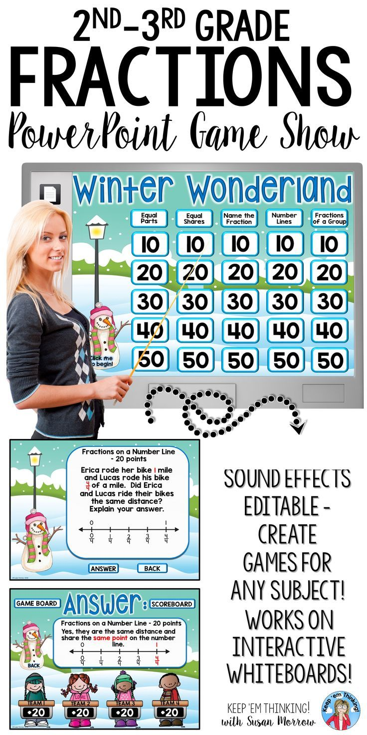 This Fractions Jeopardy Style Game Show Winter Theme is a perfect way to review introductory fraction concepts. Your second, third, fourth grade students will love this interactive, collaborative game which provides questions in the following categories: Equal Parts, Equal Shares, Name the Fraction, Fractions on a Number Line, & Fractions of a Group. With sound effects, animations, a self-scoring scoreboard, it is sure to keep your class engaged! {2nd, 3rd, 4th grade, math, seasonal}
