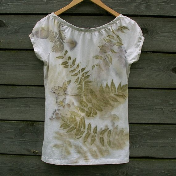 Cotton top dyed by JaneBo - https://www.etsy.com/listing/240331410/eco-print-tshirt-hand-dyed-naturally