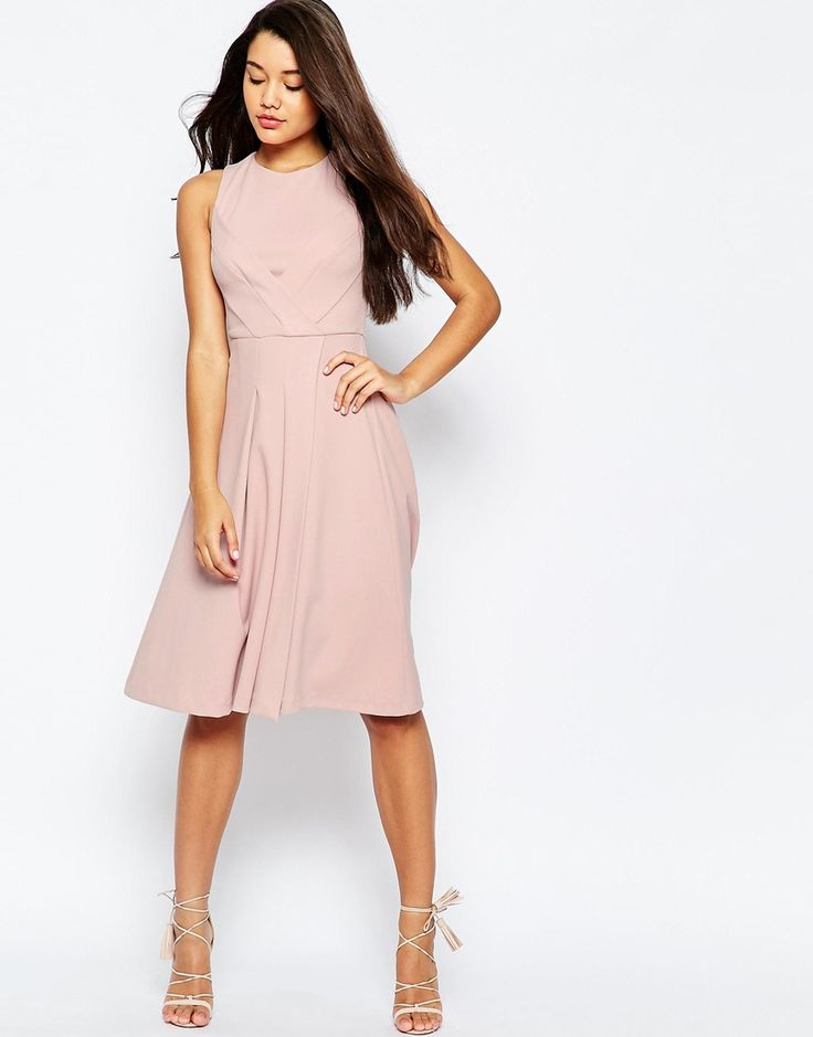 Image 1 of ASOS Midi Dress with Pleat Bust Detail