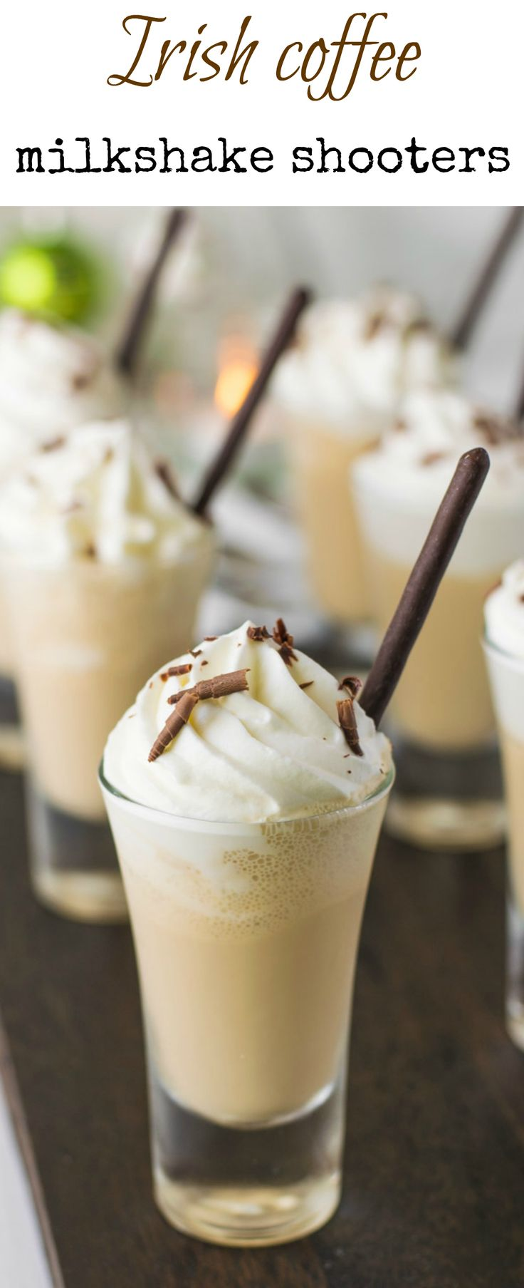 Irish coffee milkshake shooters are easy, fun, grown-up individual desserts perfect for parties, entertaining and St Patrick's Day. Irish cream liqueur is blended with coffee ice cream,topped with whipped cream and chocolate shavings. #newyearseve #party