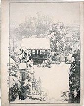 Hiroshi Yoshida (1876-1950) Snow at Nakazato, woodblock print, 1928. SOLD.