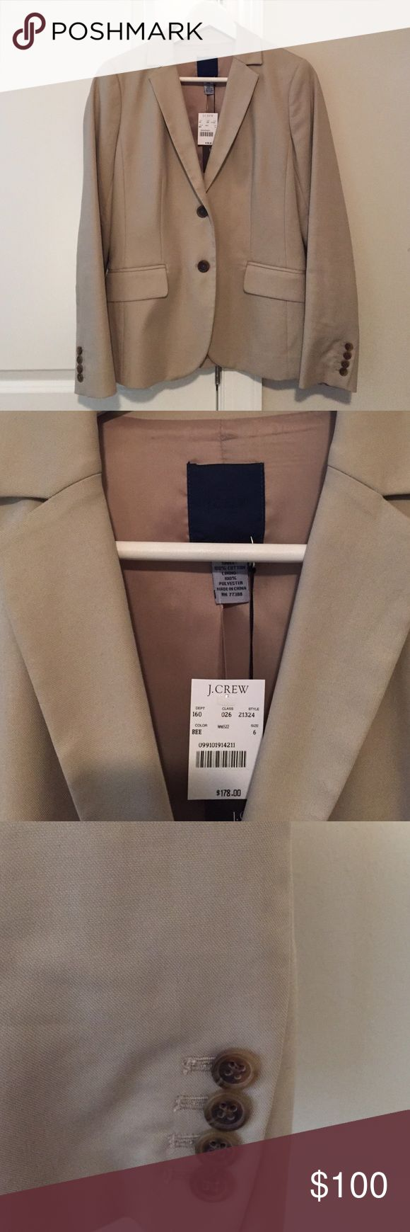 NWT J Crew beige jacket - size 6 Stylish ladies beige jacket. Perfect with jeans or trousers. New with tag! Measures 25 inches from shoulder to hem. J. Crew Jackets & Coats Blazers