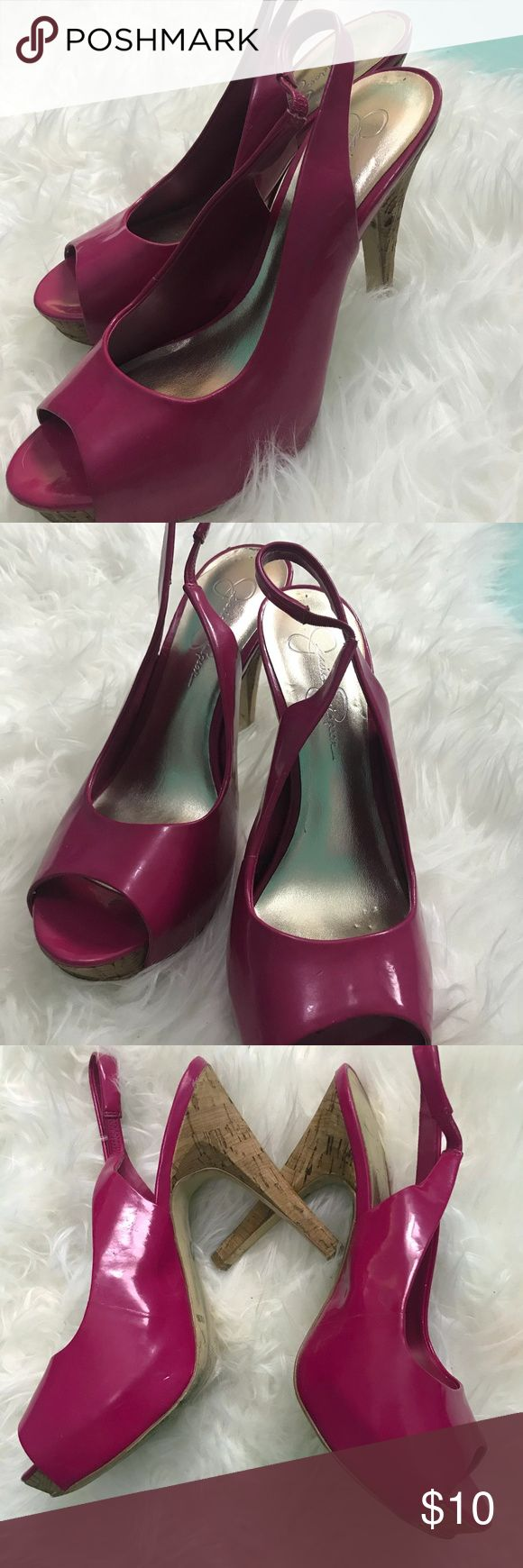 Jessica Simpson Pink Patent Leather Cork Heel 8.5 Jessica simpson AGYNESS 2 Hot Pink Patent CORK HEEL pump. 5 inch heel height. Super cute and fun.  In great pre owned condition. Jessica Simpson Shoes Heels