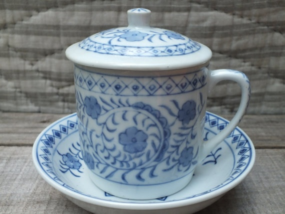 Tea Or Coffee Mug With Lid And Saucer Blue And White Floral Design Hand Painted Ceramic Cup
