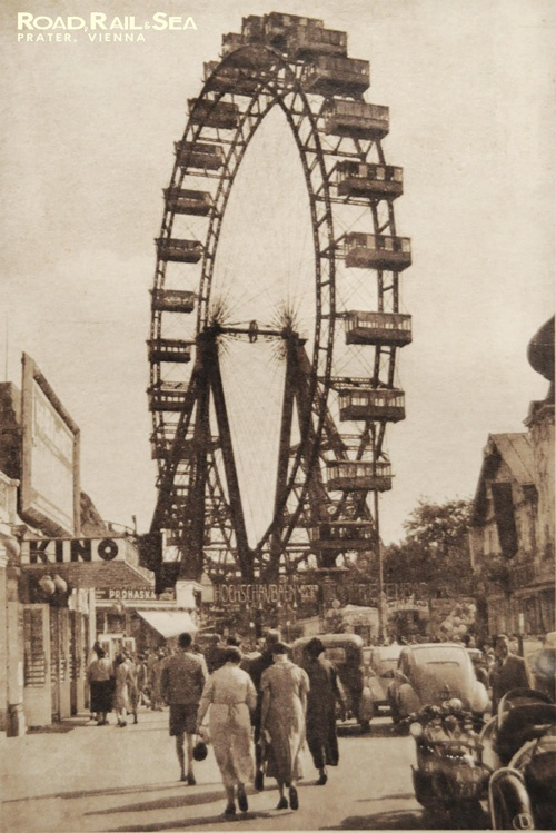 The famous wheel at Prater. Vienna, Austria. Vintage postcard available as a print. http://www.roadrailandsea.co.uk/more/gallery-offer