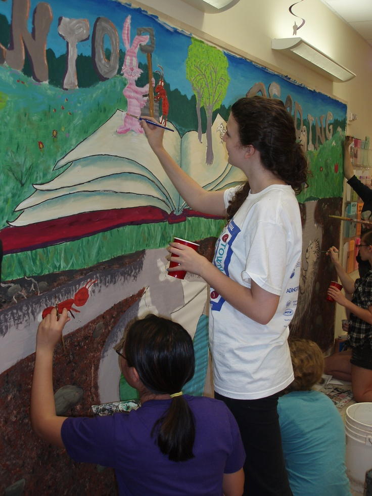 1000 images about school mural on pinterest reading for Club joven mural