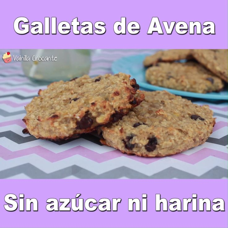 Receta de Galletas de Avena ¡Sin azúcar y sin harinas! Video completo en mi canal de Youtube Protein Cookies, Healthy Cookies, Healthy Desserts, Baby Food Recipes, Dessert Recipes, Soup Recipes, Banana Recipes, Galette, Easy Snacks