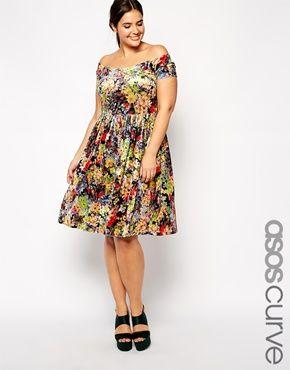Enlarge ASOS CURVE Exclusive Bardot Skater Dress in Floral Velvet
