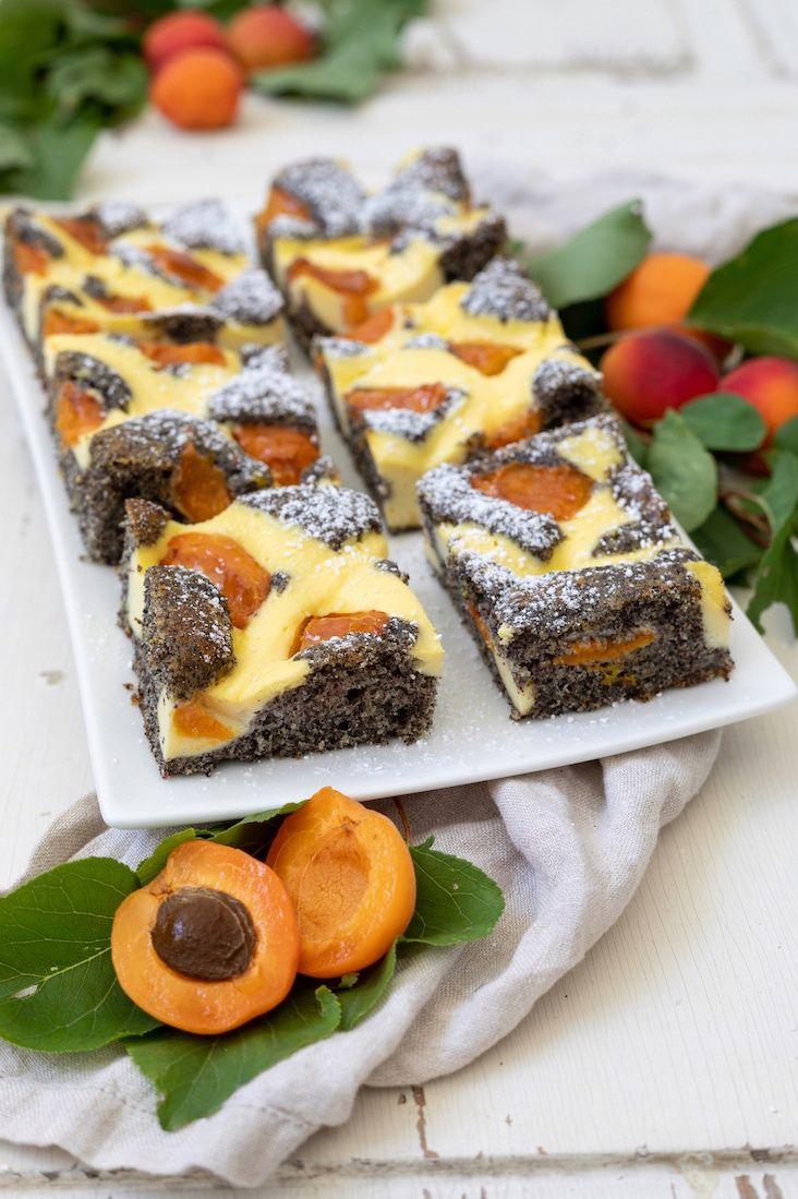 Mohn-Topfengitter-Kuchen mit Marillen