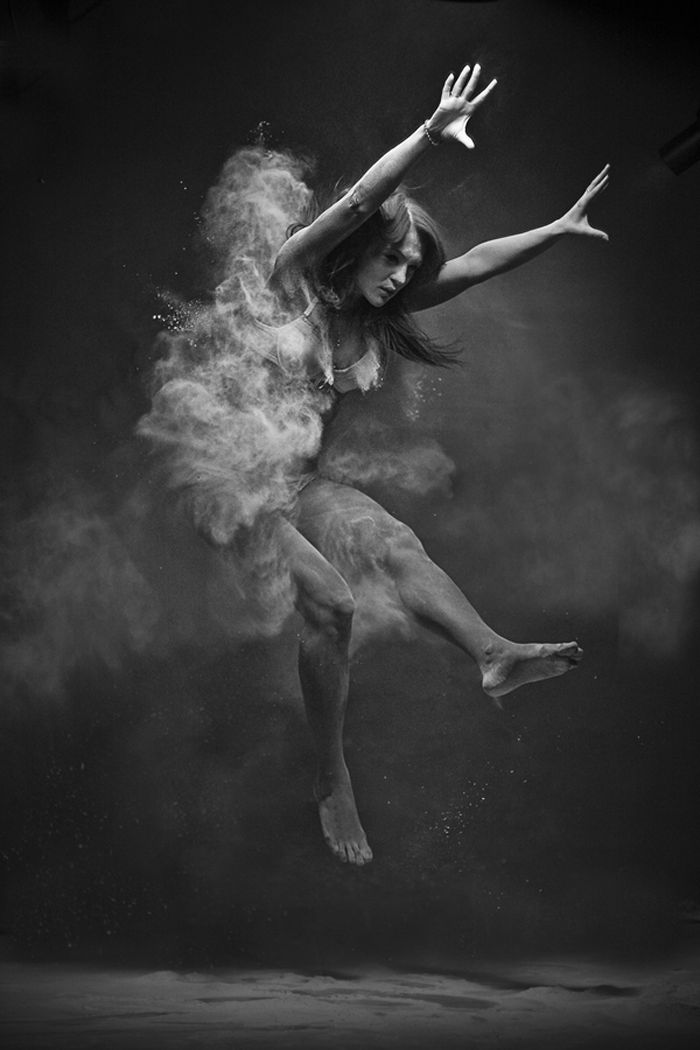 Ukrainian photographer Anton Surkov creates a collection of perfectly timed black and white photographs. In the images, Surkov captures each unique jump, as clouds of white powder explode in the air around the remarkably fit, strong young models.